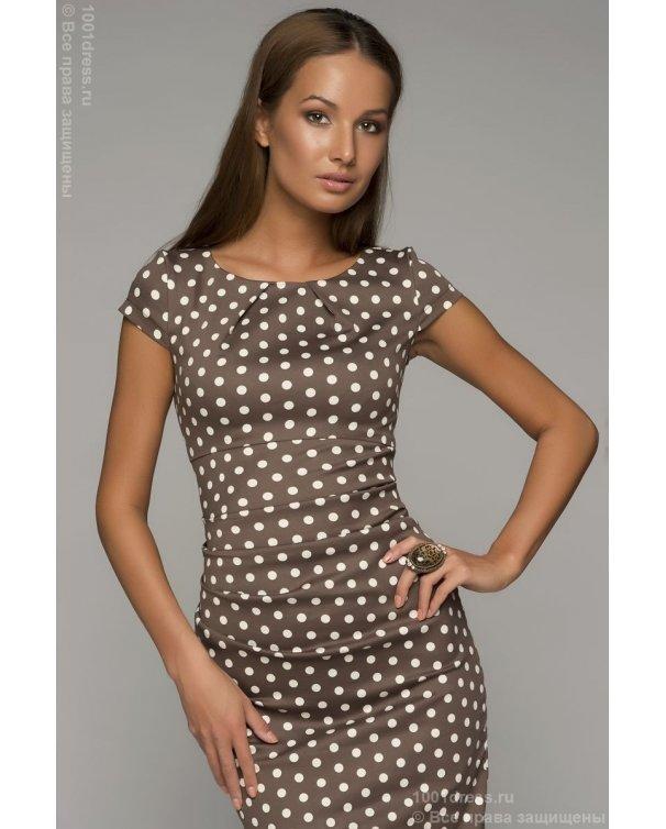 b9d3d0633ba Хлопковое платье в горошек купить недорого в интернет-магазине 1001 DRESS.  Бесплатная примерка.