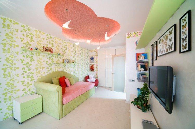Натяжные потолки в детской комнате, спальне для мальчика или девочки. Фото потолков.