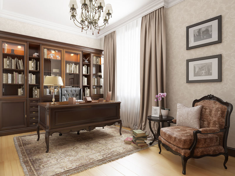 Большой домашний кабинет, со столом стиля ампир