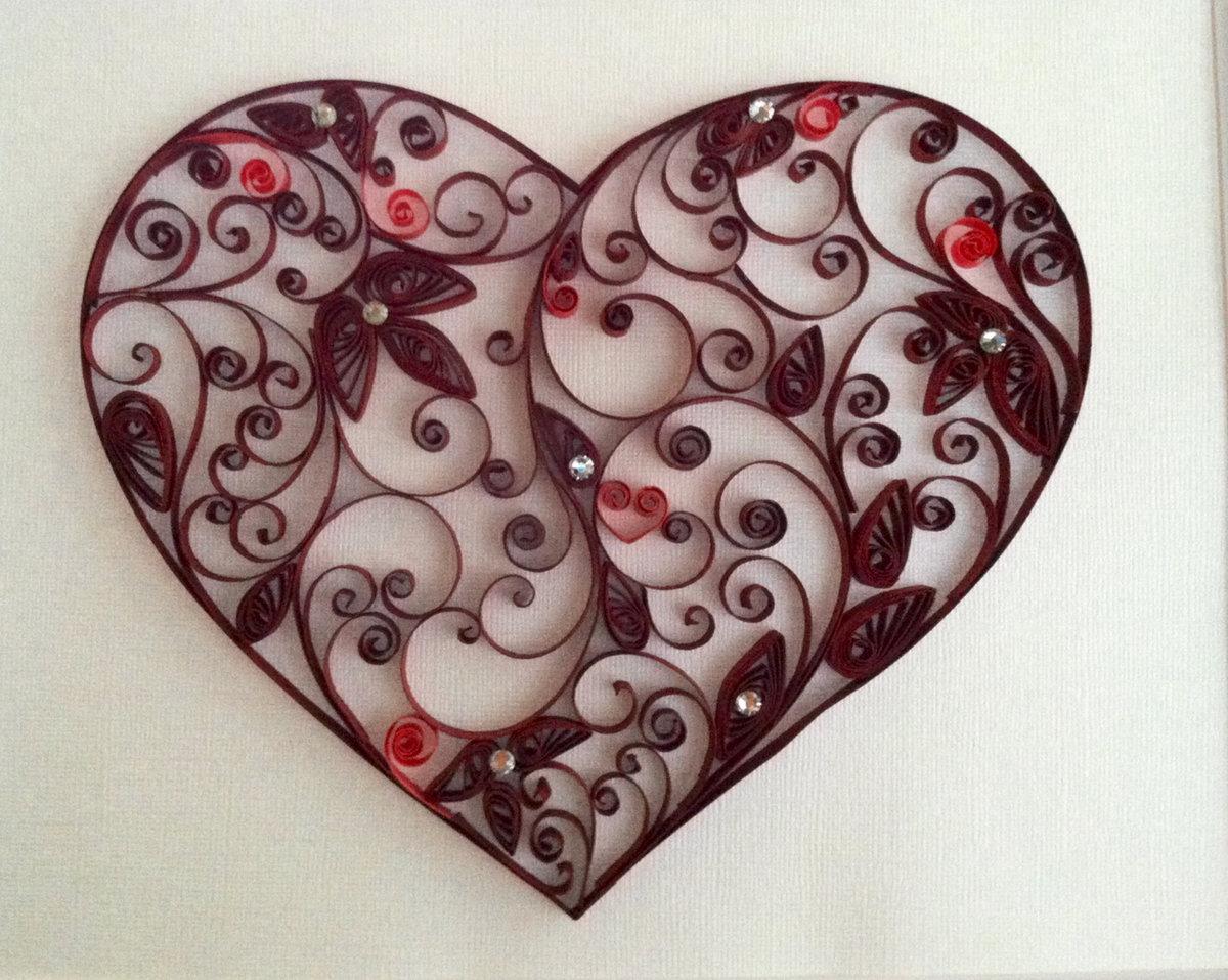 Открытка из квиллинга в день святого валентина