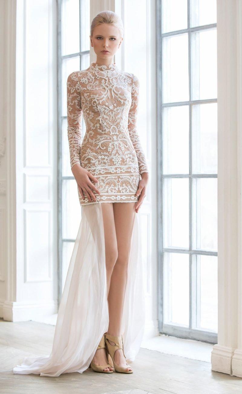 видим теперь кружевное полупрозрачное коротенькое платье факта супружеской