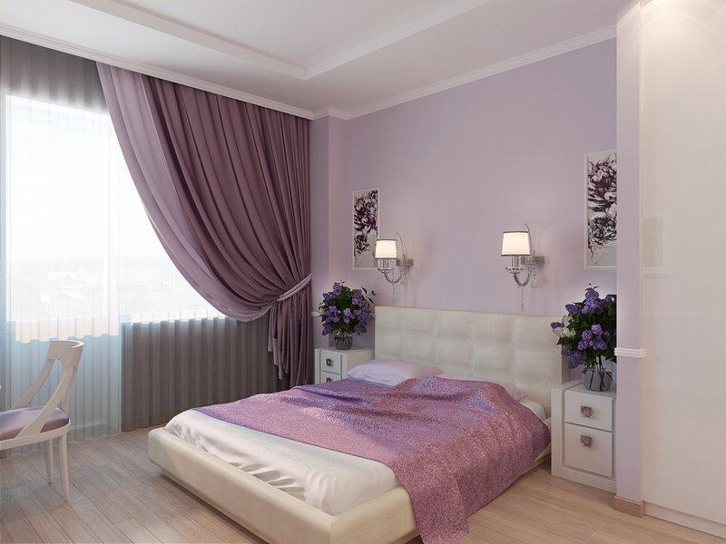 Фото сиреневой спальни дизайн - Дизайн квартир 2015. Фото новинки интерьеров