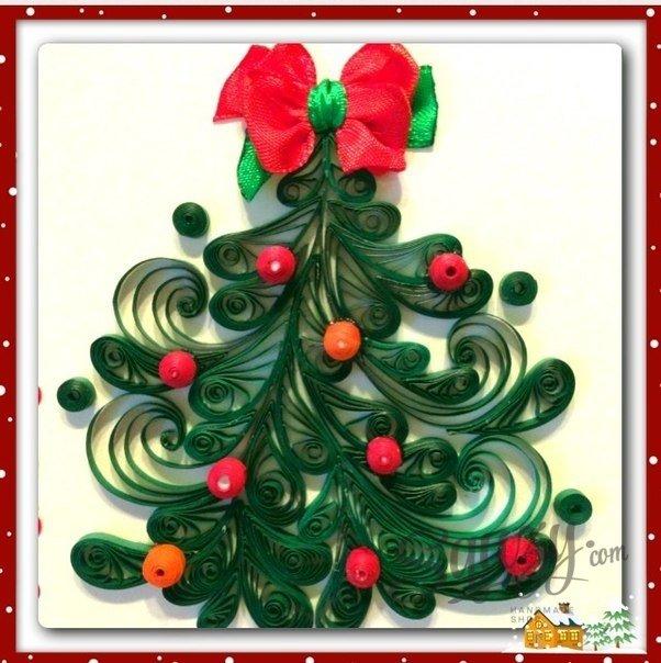 Марта день, открытка на новый год из квиллинга елка