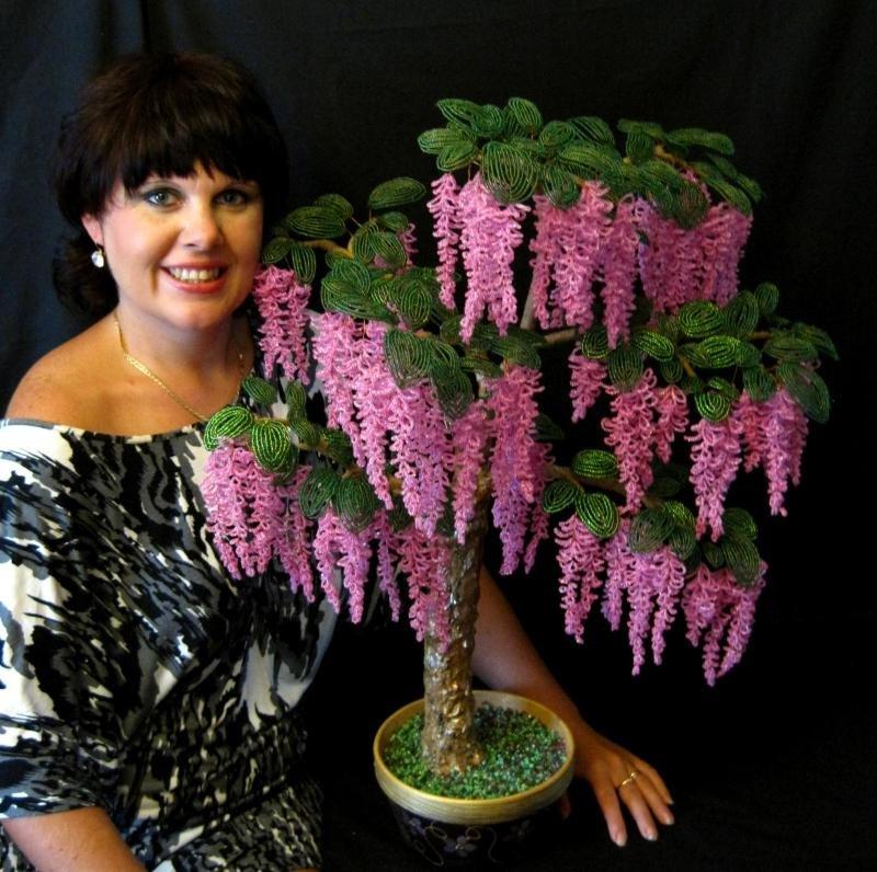 Деревья из бисера мастер-класс: сакура и березка из бисера