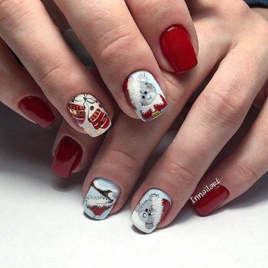 Дизайн ногте с мишками 100