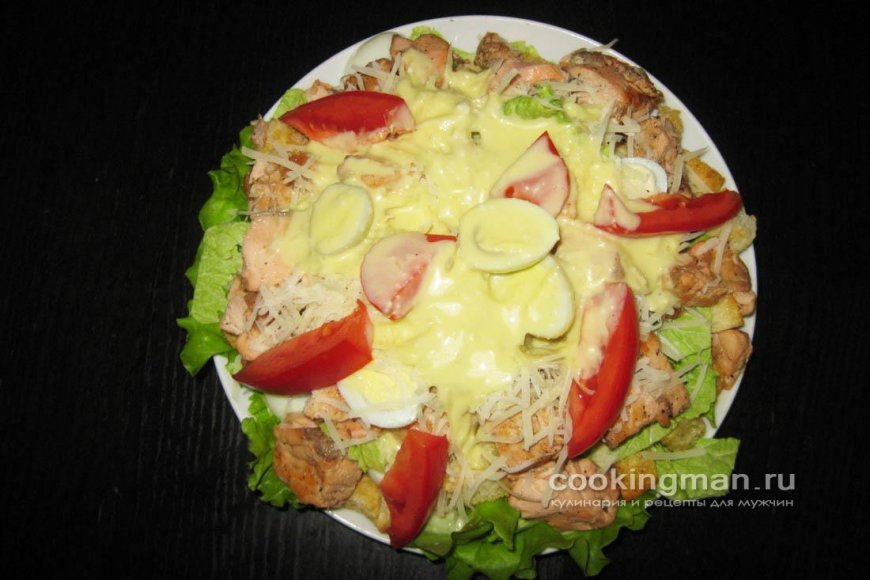 салат цезарь с красной рыбой рецепт с фото пошагово