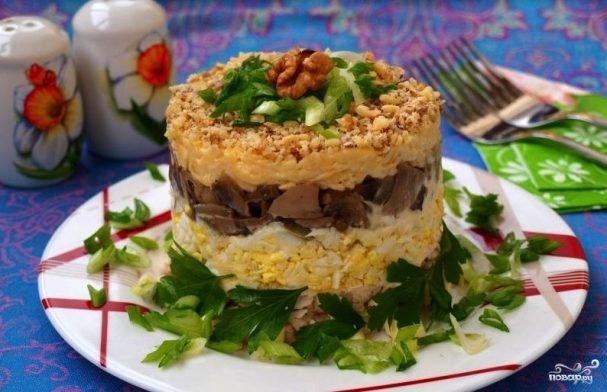 Курица шампиньоны салат слоями
