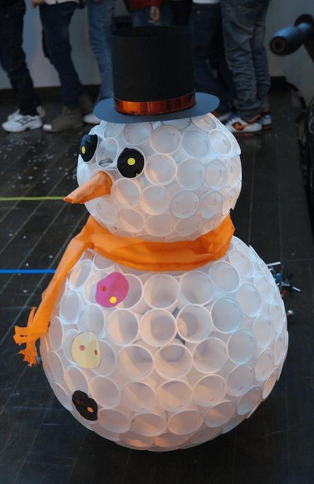 Пластиковый снеговик