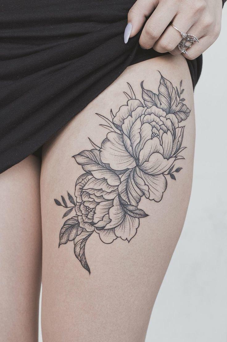 Черно-белые тату цветы