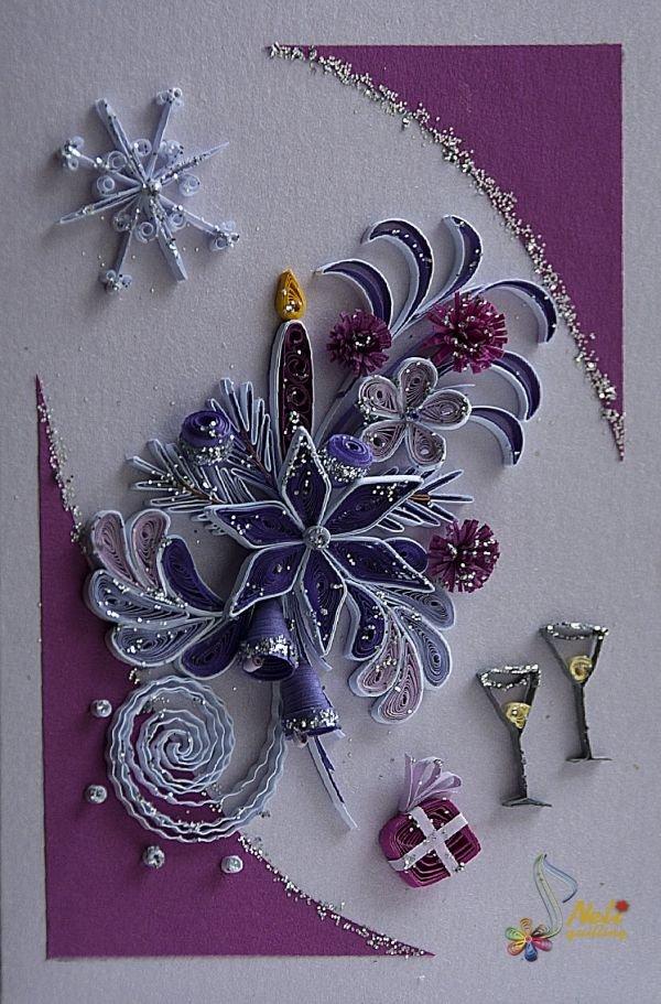 Новогодние открытки в стиле квиллинг, для открытки