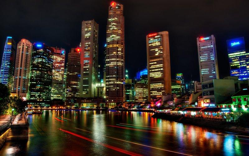 1680x1050 Обои сингапур, ночь, небоскребы