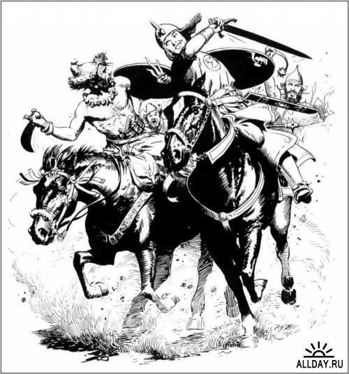 Черно белые иллюстрации Фрэнка Фразетты