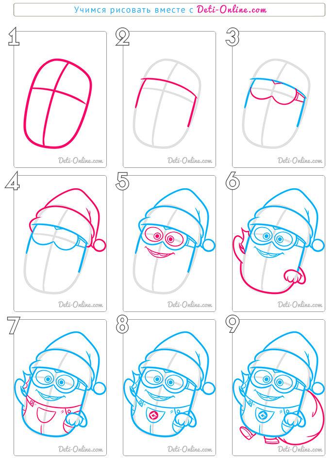 Как нарисовать новогоднего миньона