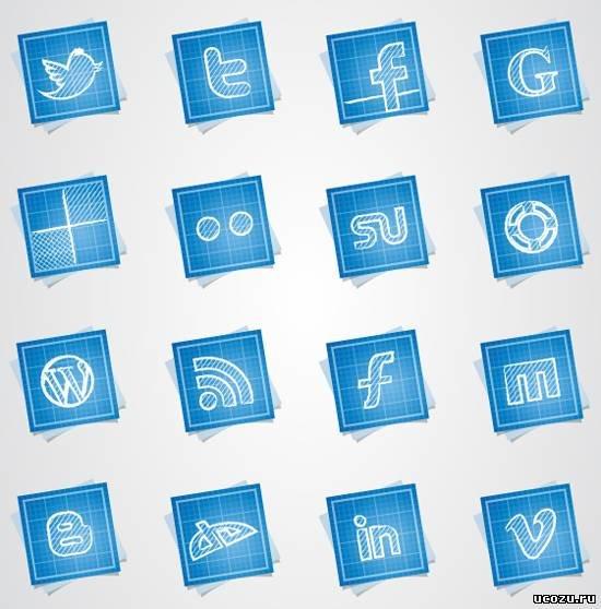 Набор иконок - Blueprint social - Иконки для Ucoz