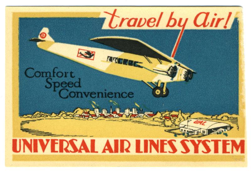Плакаты и багажные наклейки авиакомпаний 30-х годов