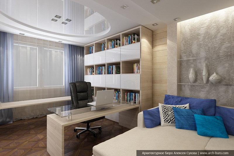 Домашний кабинет в современном стиле - В бежевых тонах (чёрное кожаное рабочее кресло)