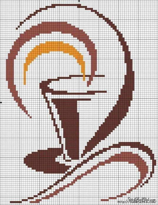 Вышивка крестиком двумя цветами