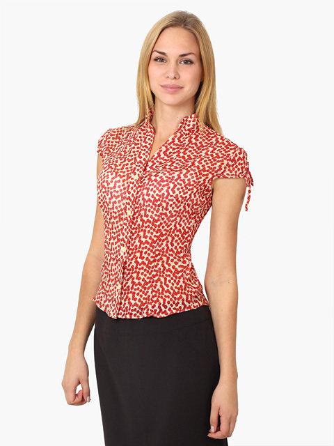 3420 рубашка женская, красно-бежевая / Товары оптом - ТопОпт.ру