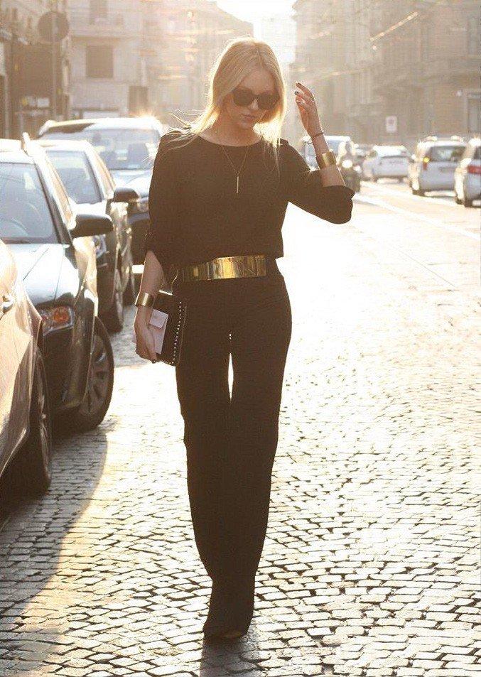 Длинный женский комбинезон черный с ремешком  в интернет-магазине Шопоголик