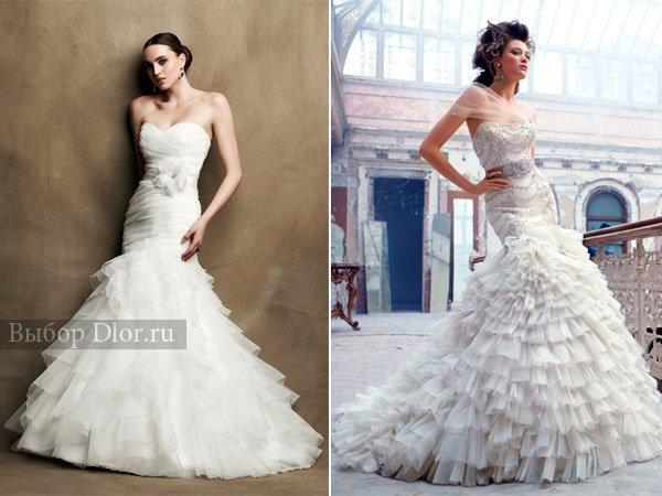 Фото свадебных платьев годе без бретелей