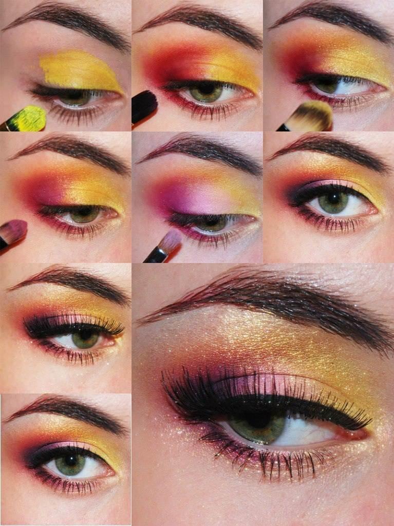 яркий макияж для глаз поэтапно