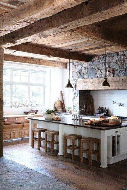Интерьер кухни в стиле рустик. Рустикальный дизайн интерьера кухни (фото)