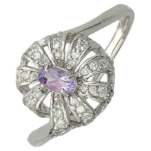 Кольцо с аметистами, цирконами из серебра 925 пробы