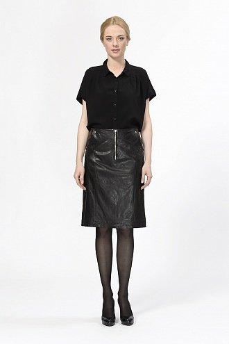 Кожаная юбка с декоративными молниями CITY GIRL cgw13b008 в интернет магазине kozha.ru