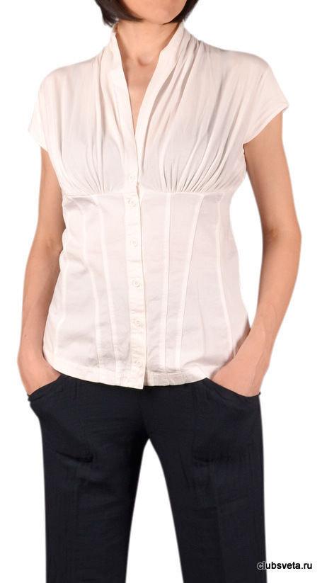 Купить Блуза European Culture белая с коротким рукавом в Москве - Я Покупаю