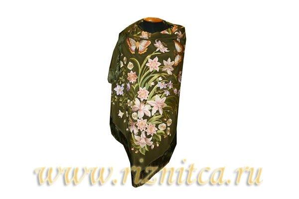 """Платки и палантины : Шаль """"Цветы с бабочками"""""""