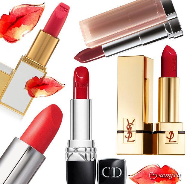 Помада Rouge Dior Lipstick от Dior, оттенок 999 Rouge Ara; Помада Rouge Pur Couture от YSL, оттенок №08 Belle De Rose; Помада для губ Lip Color Sheer от Tom Ford, оттенок Incorrigible; Помада из коллекции «Обнаженные цвета» от Maybelline, оттенок 757; Помада из летней коллекции макияжа New Attitude от Laura Mercier, оттенок Clementine