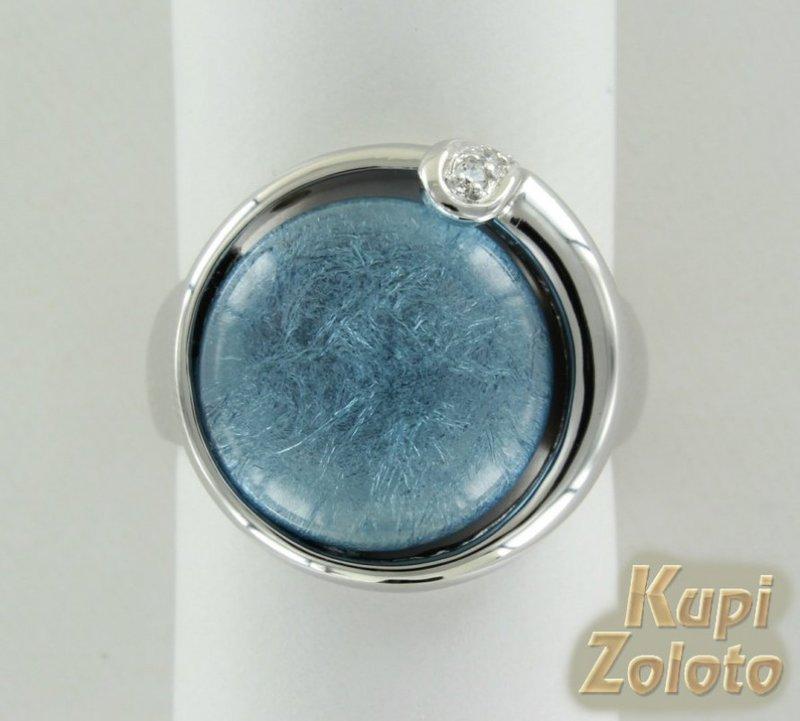 Серебряное кольцо с ювелирной смолой и цирконием - купить с доставкой в Москве и России