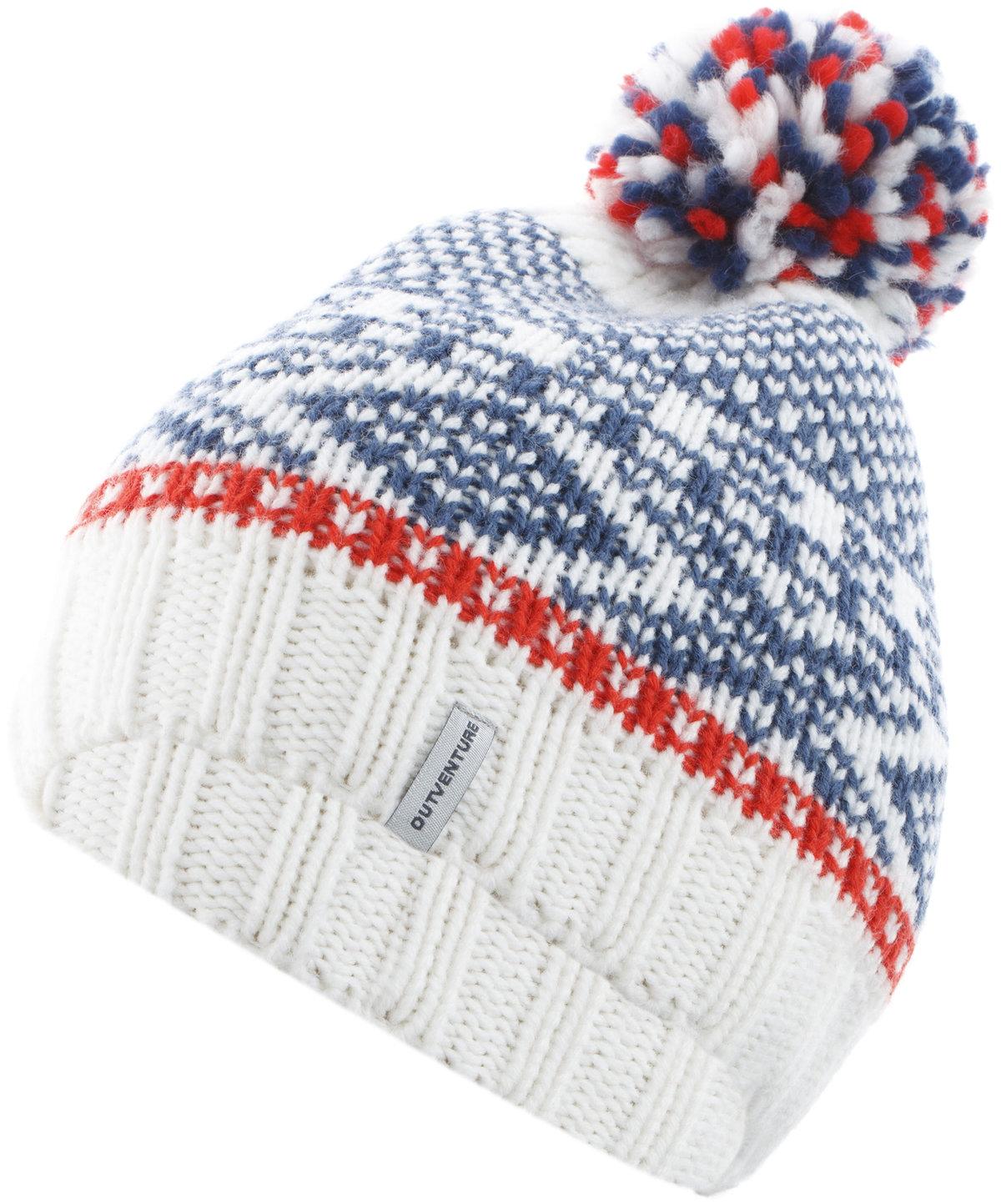 Шапка женская Outventure белый/синий/красный цвет - купить за 399 руб. в интернет-магазине Спортмастер