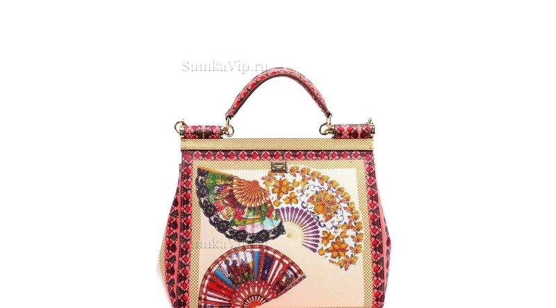 Сумка женская кожаная цветная с веерами DOLCE&GABBANA; Sicily Bag