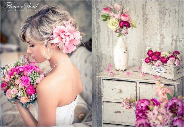 свадебная прическа с живыми цветами   Flower Soul