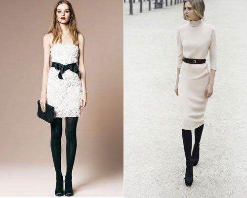 Светлое платье и черные колготки, фото