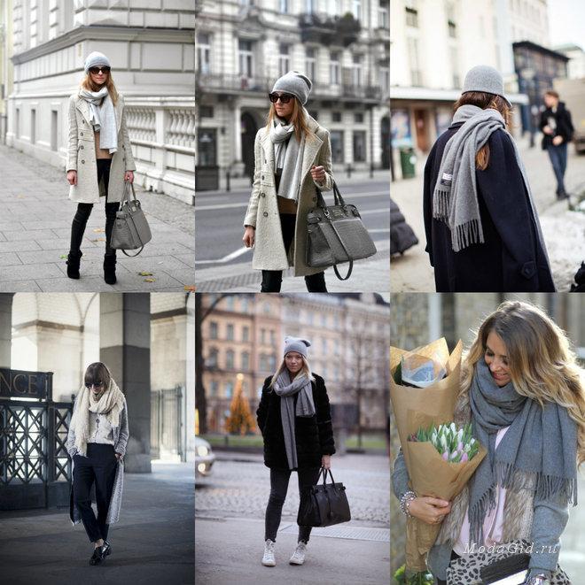 Уличная мода: Как носить шарф зимой 2014-2015: модные образы с шарфом