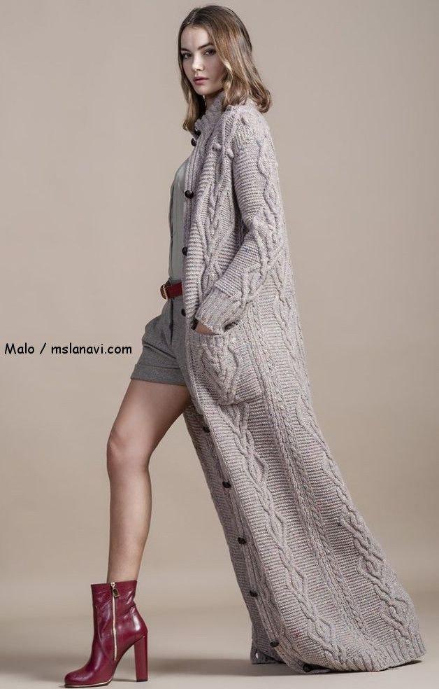 Вязаное пальто спицами от Malo, осень 2014 | Вяжем с Лана Ви