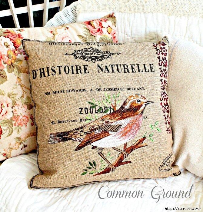 вышивка гладью на мешковине. подушки с птичками и бабочками (4)