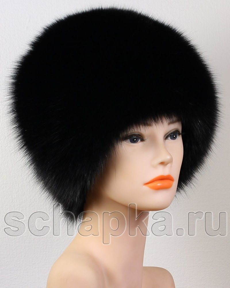 Женская шапочка из вязаного меха песца, артикул: ПС4-2
