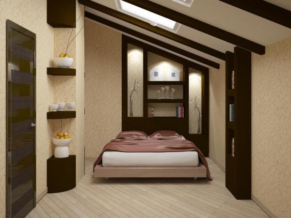 дизайн комнаты мансардного этажа 1