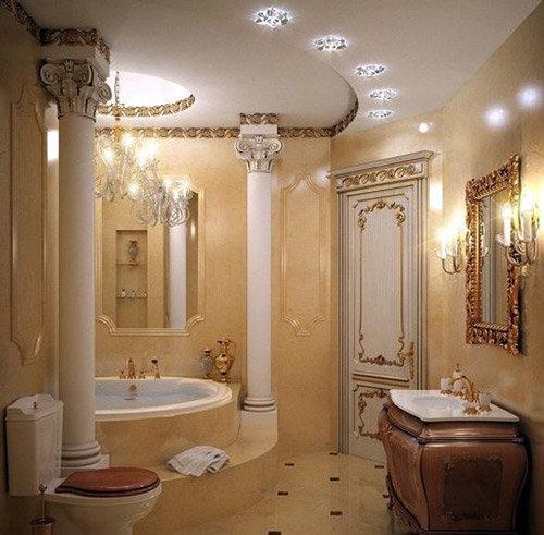Ванная в стиле Ампир, выполняется в тональности дворцов, в которых ранее жили римские императоры