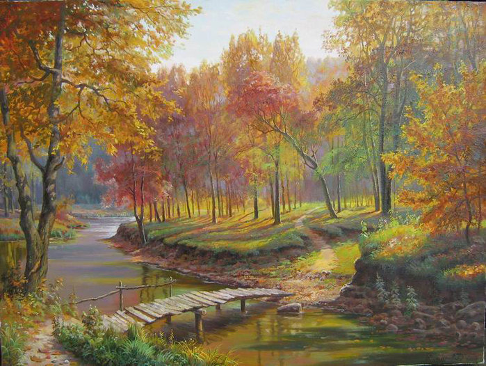 Осень пейзаж вышивка