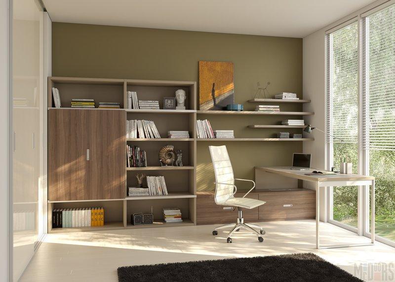 Домашний кабинет в современном стиле - В бежевом оттенке (большое окно и зелёные стены)
