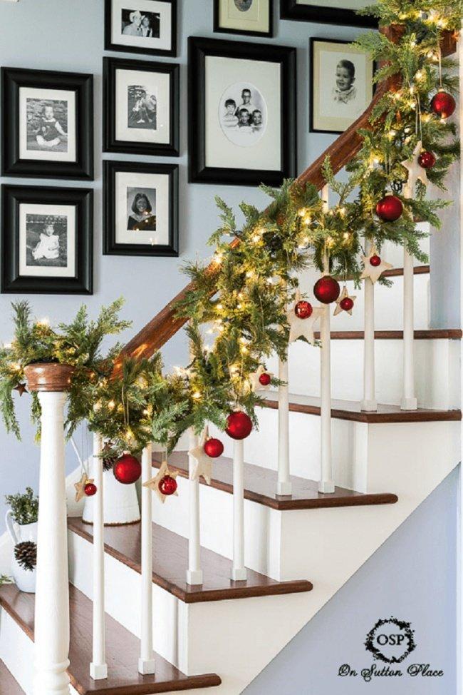 Новогодние гирлянды на лестницу