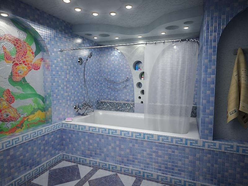Большая и просторная ванная комната с греческой мозаикой в голубоватых тонах.