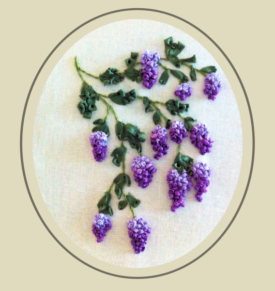 Wisteria, Ribbon Embroidery - stitchin fingers