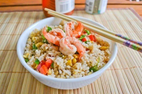 Жареный рис с креветками » Кулинарные рецепты