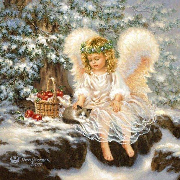 Красивые открытки с зимним пейзажем и ангелом хранителем
