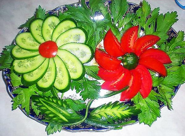 Овощные украшения к салатам с фотографиями